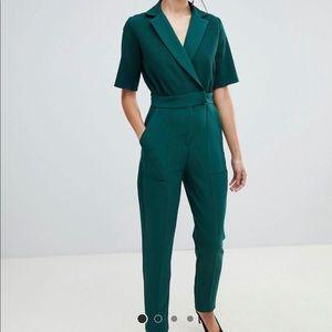 Emerald green - tuxedo jumpsuit